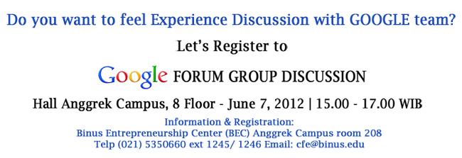 Google-forum-discussion BINUS Entrepreneurship Center