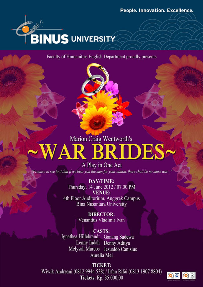 BINUS UNIVERSITY BINA NUSANTARA English Department present War-Brides