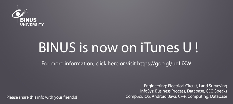 Get all the information you need to access Binus on iTunes U !