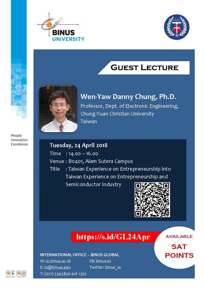 Guest Lecture - Taiwan Experience on Entrepreneurship and Semiconductor Industry