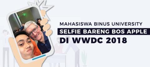 Mahasiswa BINUS UNIVERSITY Selfie Bareng Boss Apple di WWDC 2018