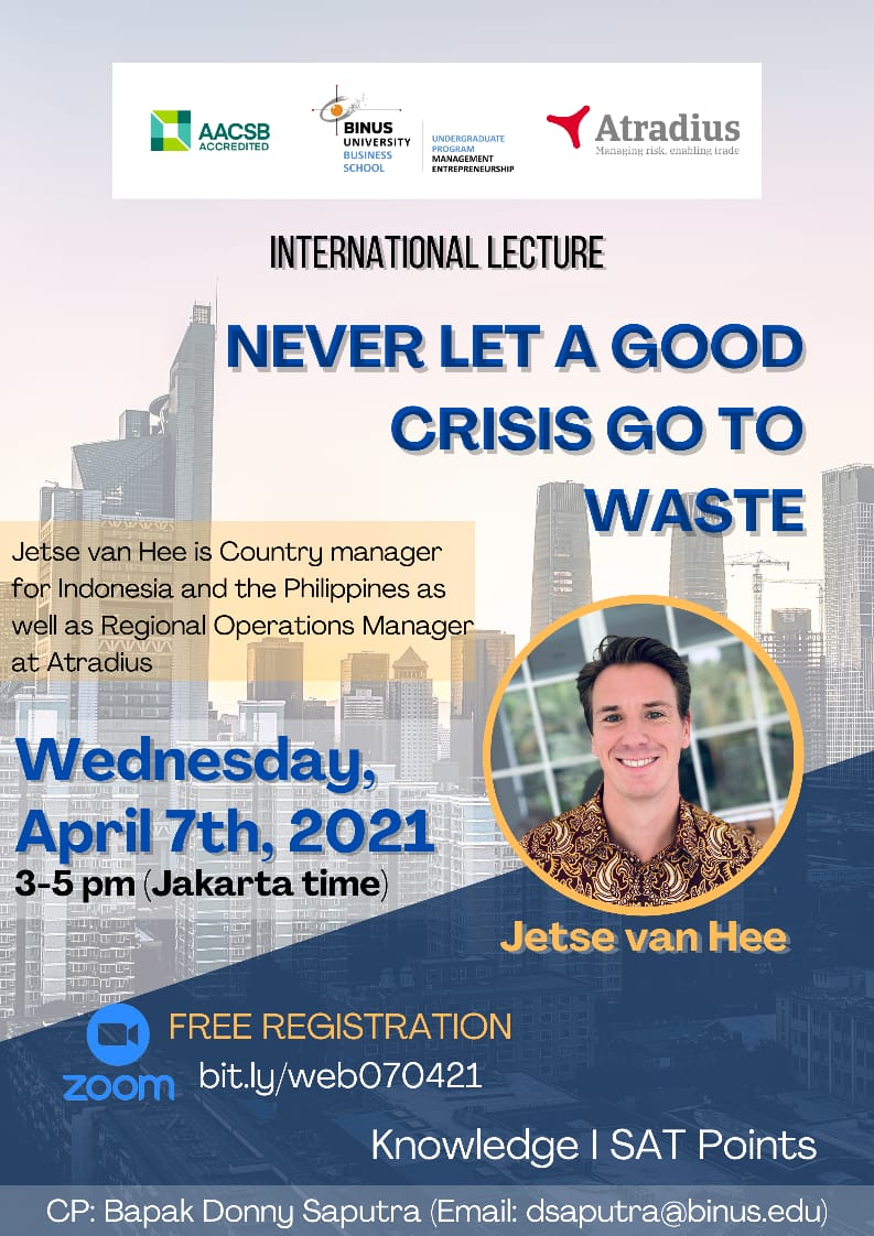 International Lecture Never Let A Good Crisis Go To Waste