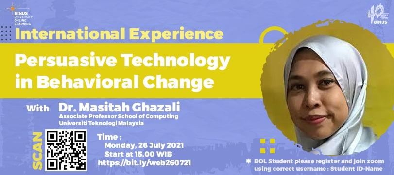 International Experience - Persuasive Technology in Behavioural Change