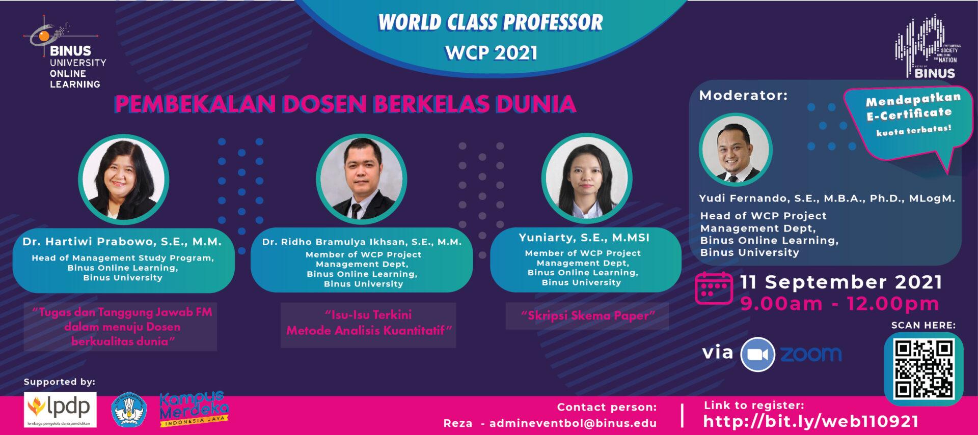 World Class Professor (WCP) – Pembekalan Dosen Berkelas Dunia